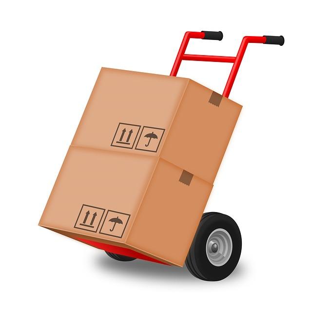 vozík s krabicemi kreslený