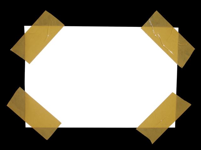 papír přilepený hnědou lepící páskou