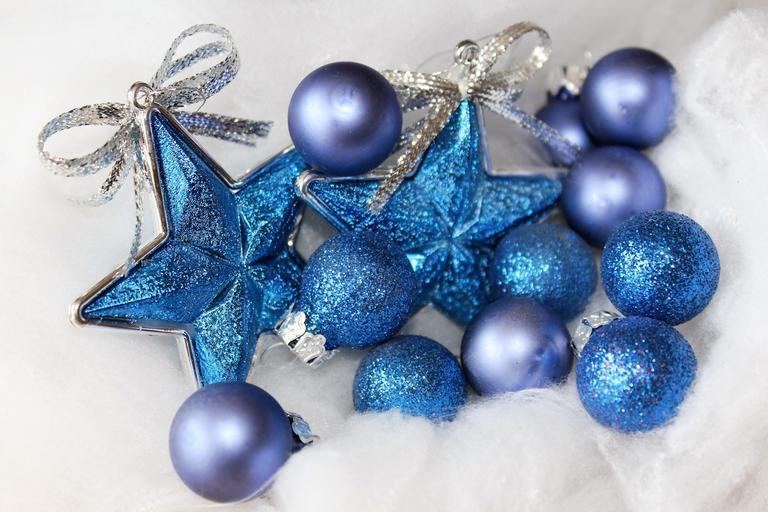 modré Vánoční ozdoby